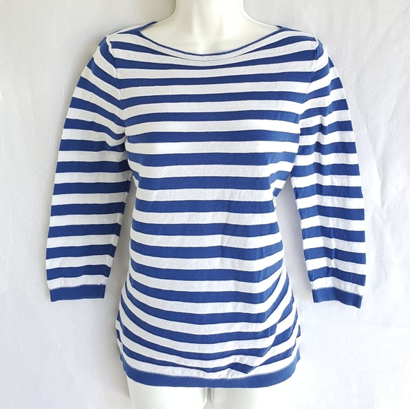 LOFT Tops - Ann Taylor Loft blouse. Size Large. White and blue